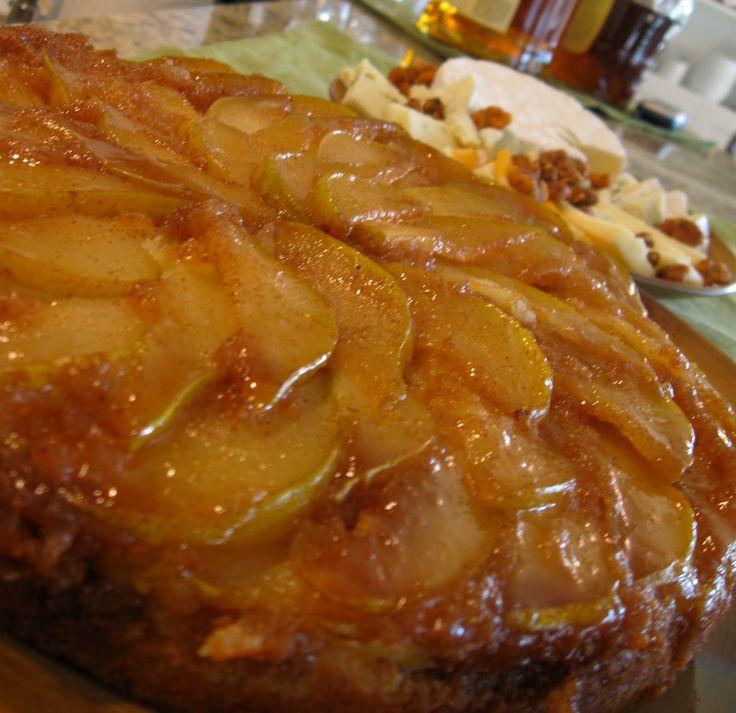 Caramelized Pear Upside-Down Cake {Recipe