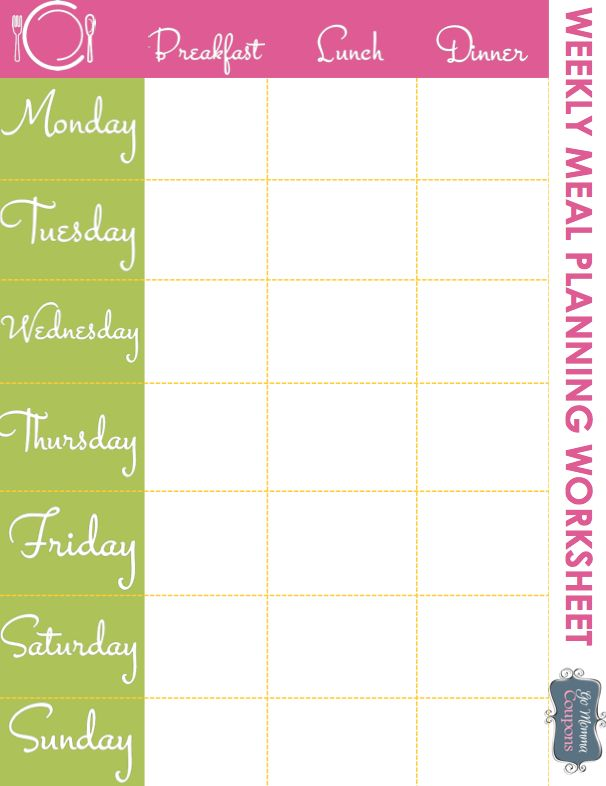 Weekly Meal Planner Printable | get organized! Really? | Pinterest