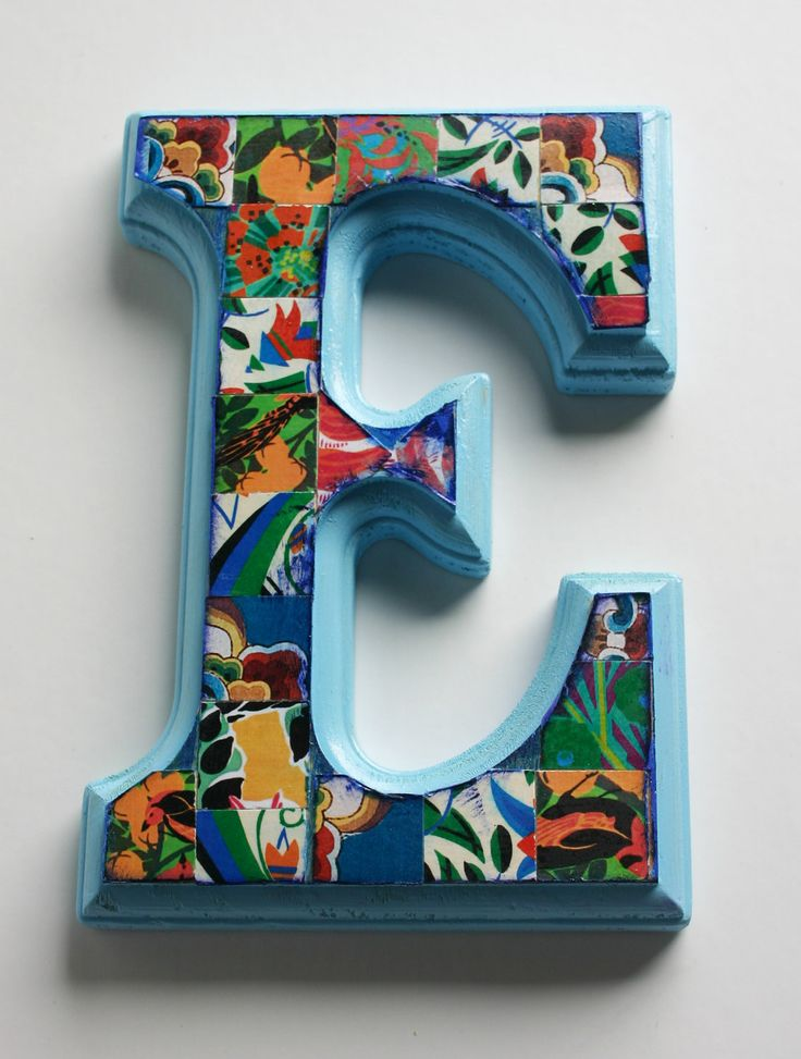 Hand decorated wood letter 39 e 39 6 5 home decor wall for Letter f decoration