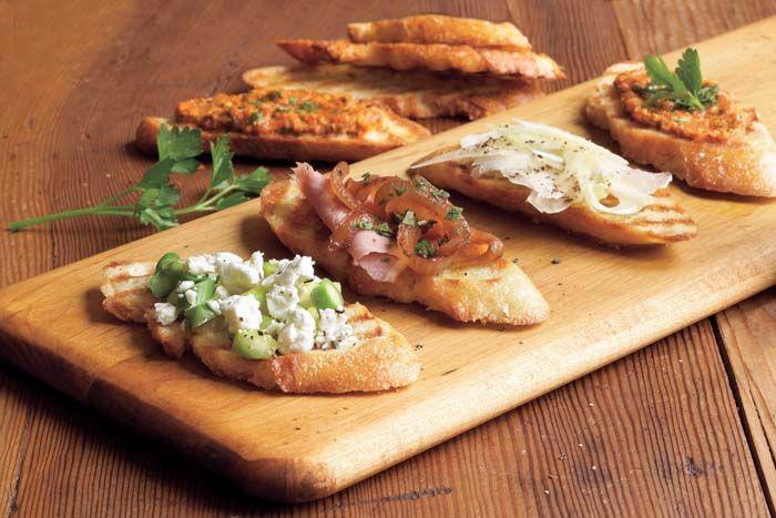 : Avocado, Basil and Tomato Crostini; Nectarine & Prosciutto Crostini ...