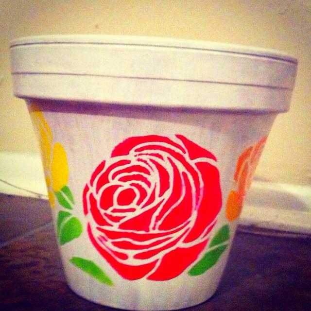 One of my garden pots one coat of white silk paint martha for Fancy flower pots