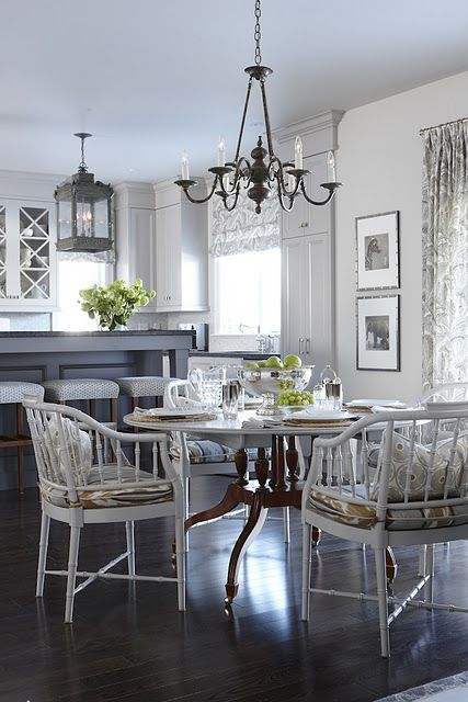 grey kitchen and breakfast room - love the chairs!