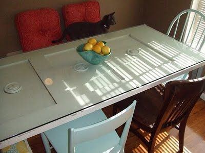 Turn an old vintage door into a table do it myself for How to turn an old door into a table