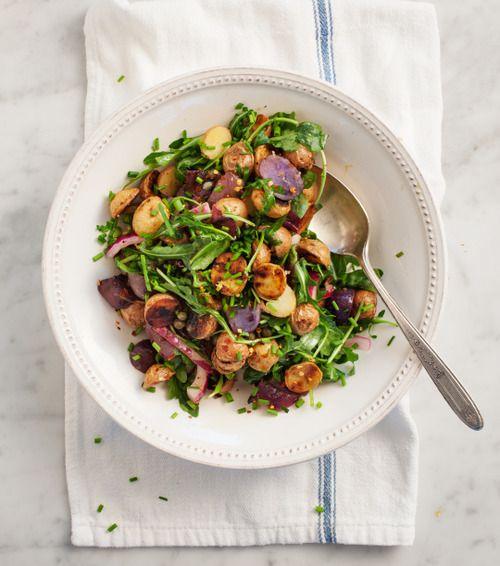 Grilled potato and arugula salad. | Salads full of veggies | Pinterest