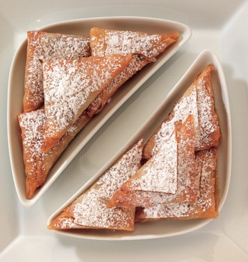 Pan Fried Sweet Pear and Pistachio Phyllo Triangles.