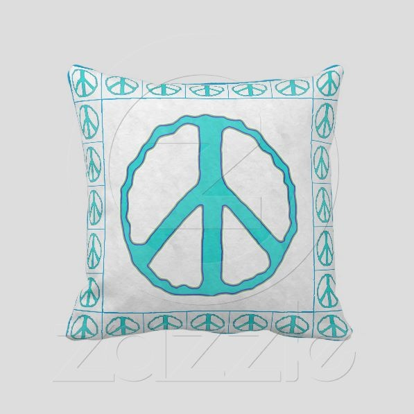 Signs of Peace ~ Cyan pillows - Fun and forthright. Wash-out Cyan & Multi-color peace symbols on , with solid matching Cyan on reverse. Makes a great gift.