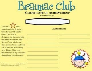 Brainiacs club with printables classroom 2nd grade pinterest