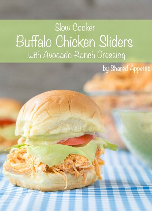 Slow Cooker Buffalo Chicken Sliders with Avocado Ranch Dressing ...