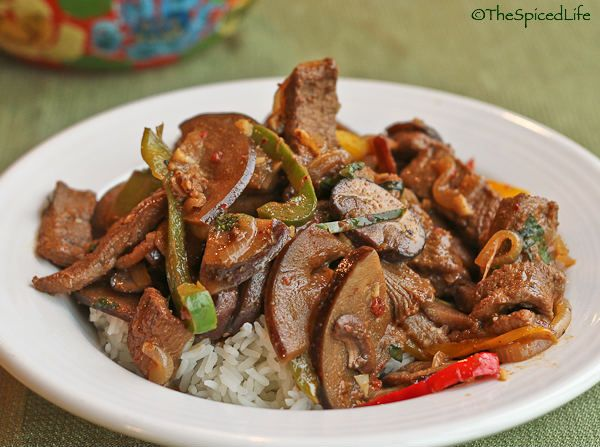 Stir Fried Beef with Peppers, Mushrooms, Eggplant and Nam Prik Pao ...