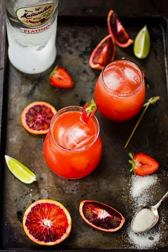 Strawberry Blood Orange Rum Punch | Foods and Recipes | Pinterest