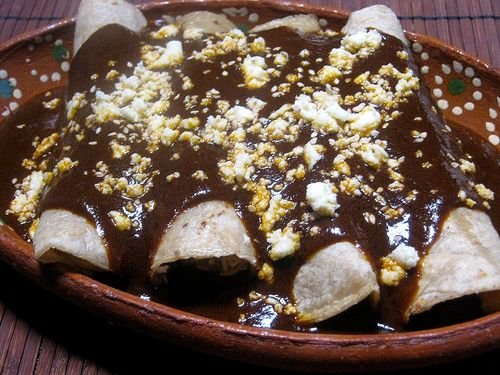 Enmoladas (Chicken Mole Enchiladas) Recipe — Dishmaps