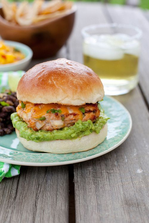 Jalapeño Cheddar Chicken Burgers with Guacamole