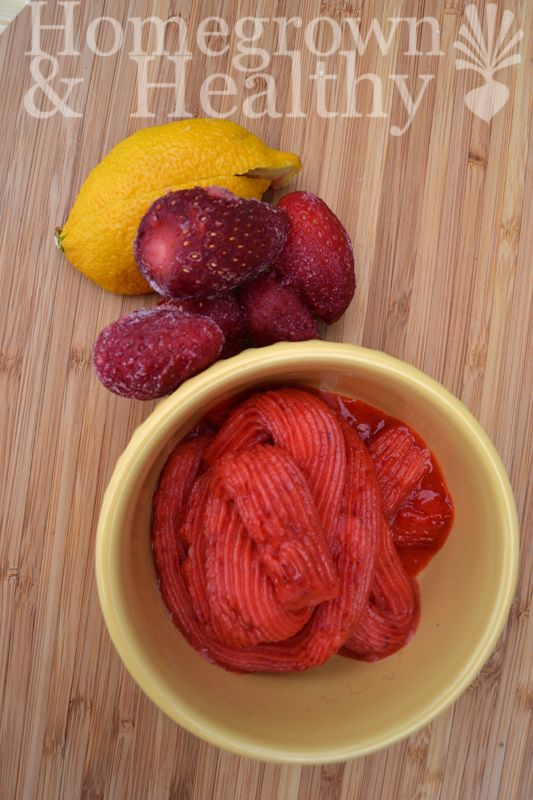 Frozen strawberry lemonade. Strawberries + lemon + honey. So simple!