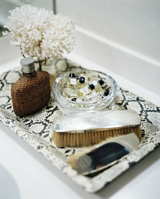faux-python tray, antique silver brushes, and mini cologne bottles | Laurann Claridge | Lonny