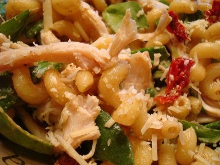 Pasta Chicken Salad with Sun-Dried Tomatoes, Spinach and Bacon | Reci ...