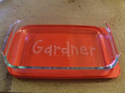 Personalized Casserole Dish (wedding gift): cut contact paper with Cricut or exacto, then etch with cream)