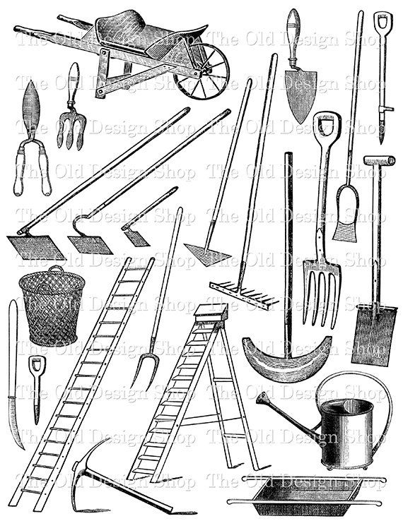 Vintage garden tools and equipment printable black and for Gardening tools 7 letters