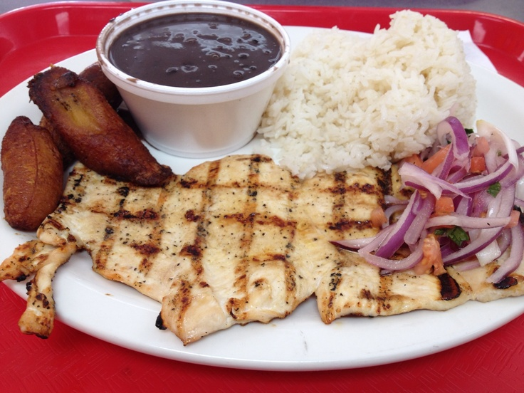 Cuban Food: Grilled chicken breast,white rice,black beans,fried ...