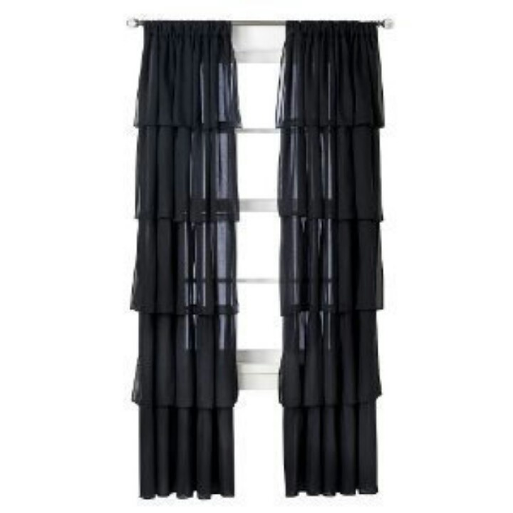 Xhilaration black ruffle window drapes. | House & Home ♥ | Pinterest