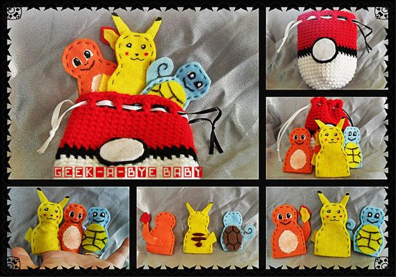 Geek-a-bye Baby Pokemon Inspired Finger Puppet Playset with Pokeball