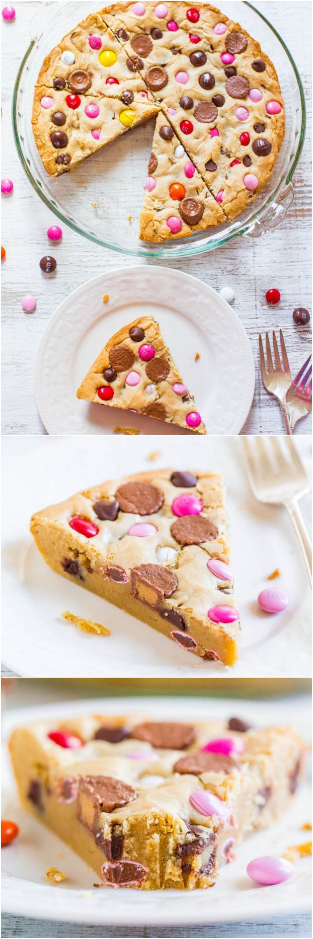 Loaded Soft and Chewy M&M Cookie Pie - If you like M&M cookies, you'll love this biggie version! Super easy & always a big hit! (Great for Valentine's Day!)