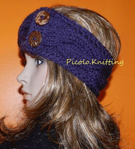 Hand Knitted Chunky Cabled Headband, Chunky soft Headband in Purple w ...