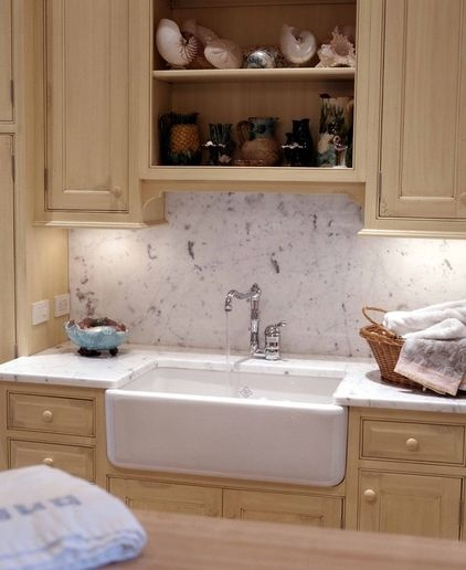 country sink and marble backsplash lakehouse kitchen inspiration ...