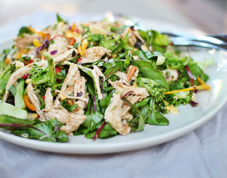 Rainbow salad with poached chicken and miso dressing