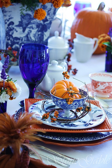 Beautiful Fall TableScape With Cobalt Accents-Unique and Gorgeous