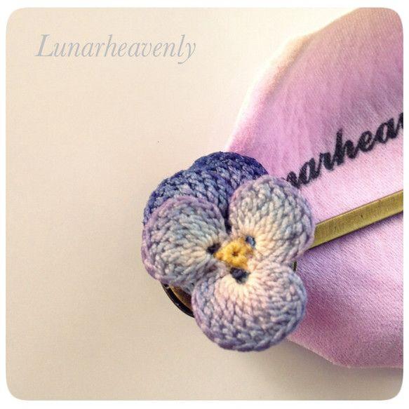 パンジーのヘアピン#2ブルー レース編み