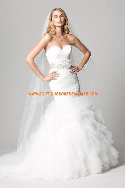 Robe de mariée sirène tulle ruban fleurs  Robe de mariée ...