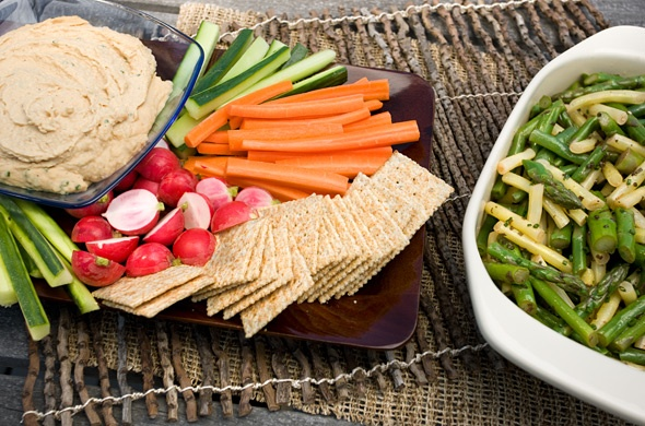 Cannellini Bean Dip and Asparagus, Green Bean, and Wax Bean Salad