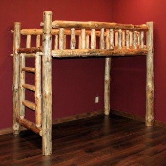 Pine log loft bed for Log loft bed