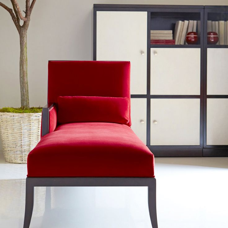 Bernhardt interiors holden chaise lounge in red for Bernhardt chaise lounge