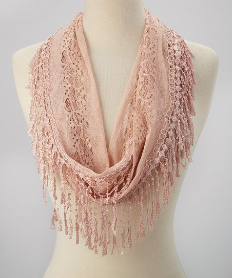Crochet Infinity Scarf With Fringe Pattern : Pink Crocheted Fringe Infinity Scarf
