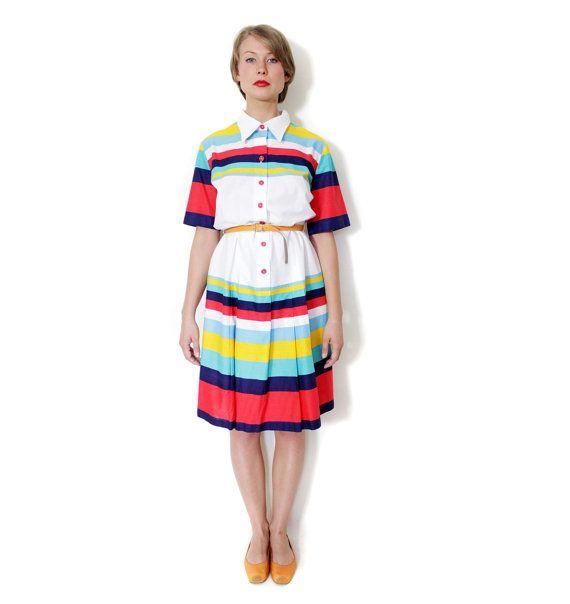 Vintage dress / white with colorful stripes cotton dress by nemres, $67.00
