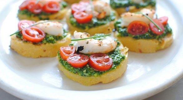 Polenta Bruschetta with Shrimp and Spinach Pesto | Recipe