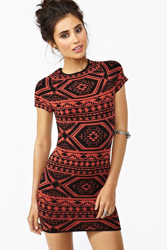 short sleeve tribal knit dress.