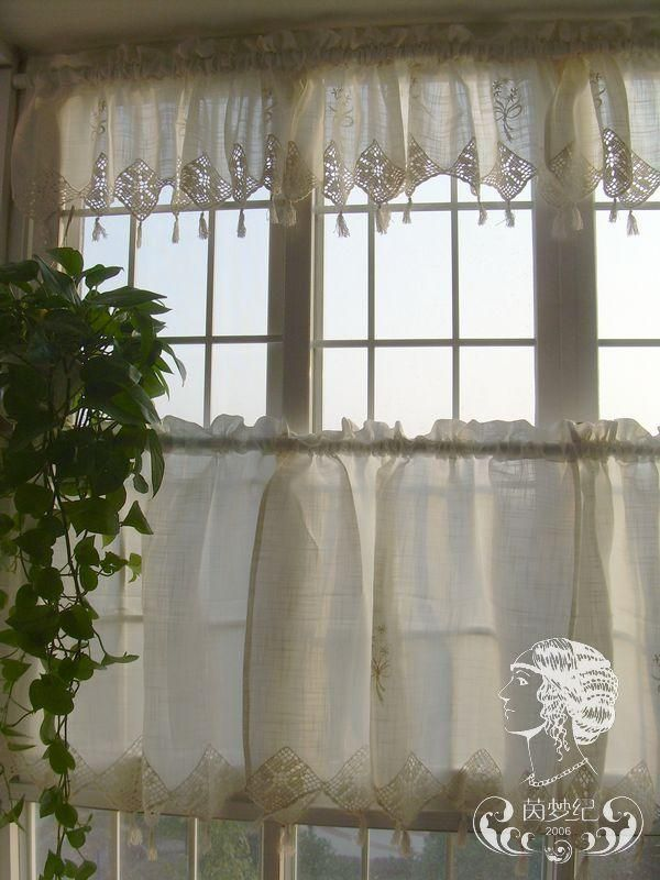 Set Of French Country Lace Crochet Cafe Kitchen Curtain With Valance 013