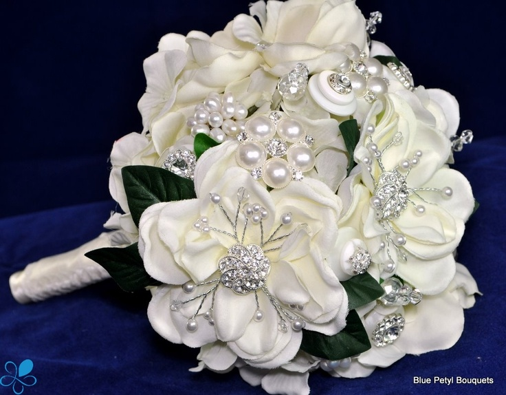 Bridal Flowers With Bling : Magnolia bling bouquet
