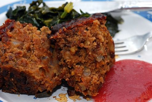 Apple lentil loaf, I would probably serve with greens and potatoes ...