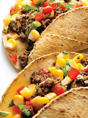 Black Bean Tacos with Corn Salsa from Epicurious.com #myplate #protein
