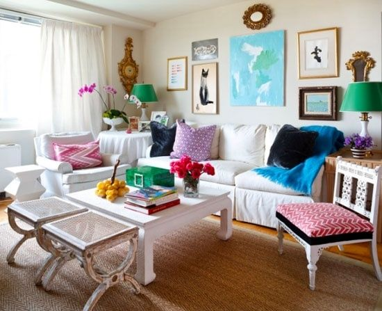 Eclectic colorful living room live it pinterest for Living room seating for small spaces