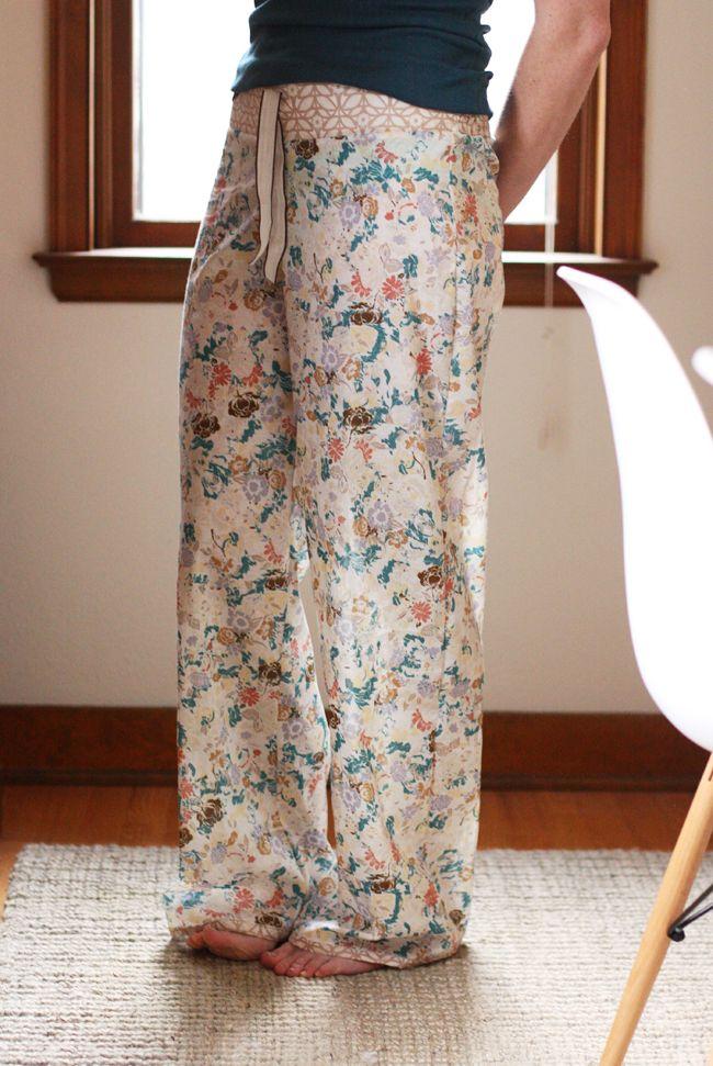 noodlehead: shirred voile pajama pants: DIY tutorial