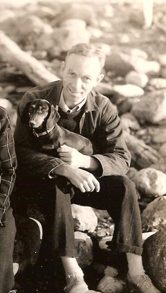 Author E. B. White with dachshund Minnie! (not Charlotte or Wilbur?)