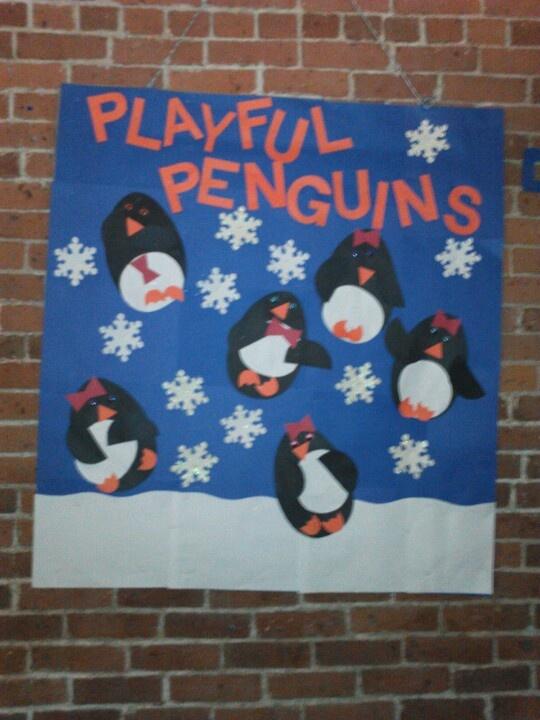 Playful penguins bulletin board bulletin boards by me pinterest