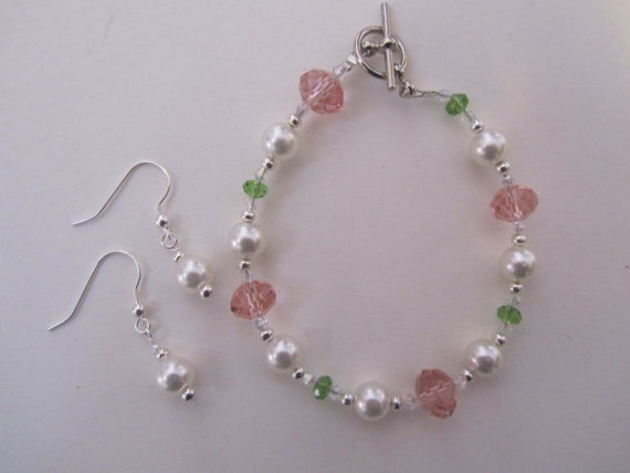 pink, green, and pearls