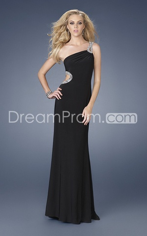 Luxurious Silk Like Satin Sleeveless One-shoulder Floor-length Prom Evening Dresses15151