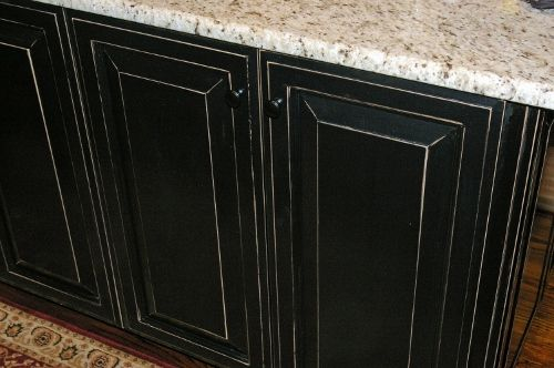 Black Distressed Cabinets Kitchen