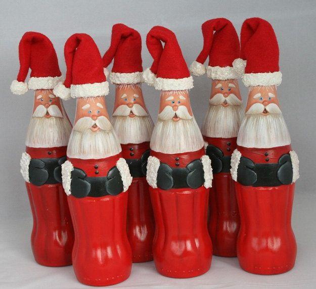Coke Bottle Santas.So cute.